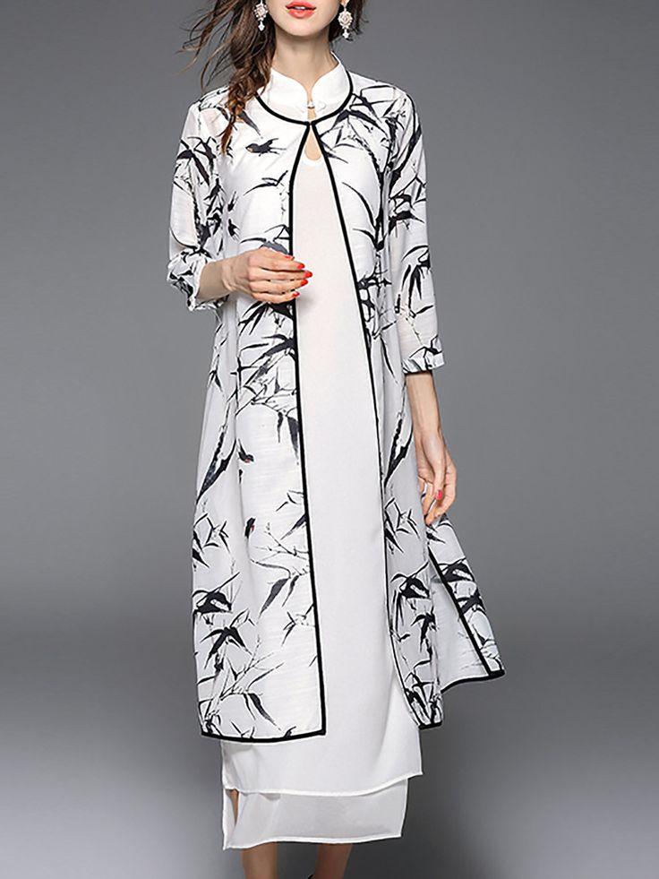 Shop Midi Dresses - White 3/4 Sleeve Cotton-blend Two Piece Midi Dress online…