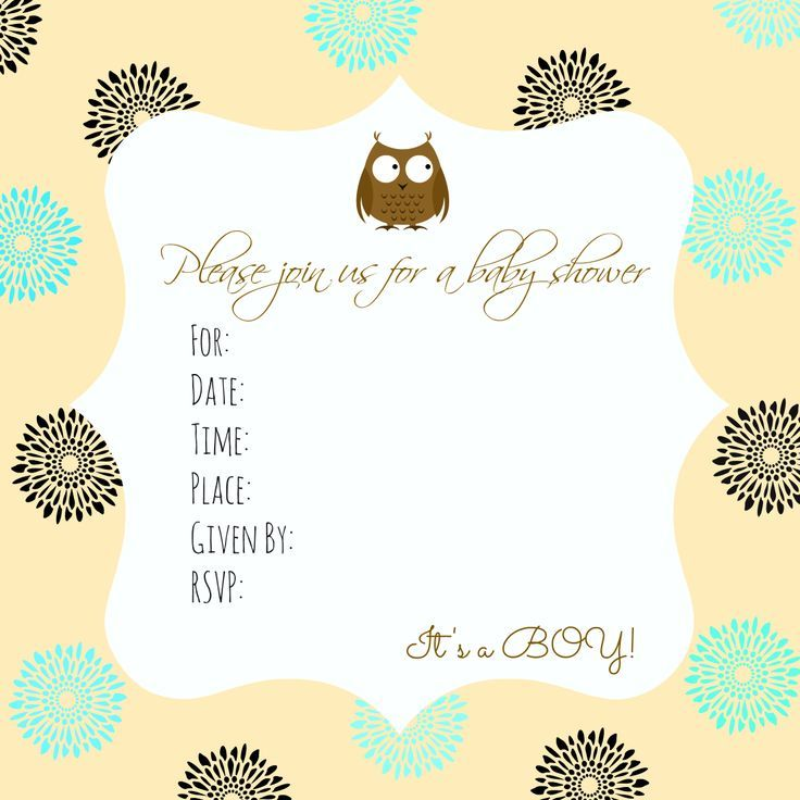 Nice FREE Template Free Printable Owl Baby Shower Invitations  Baby Shower Invite Template Free