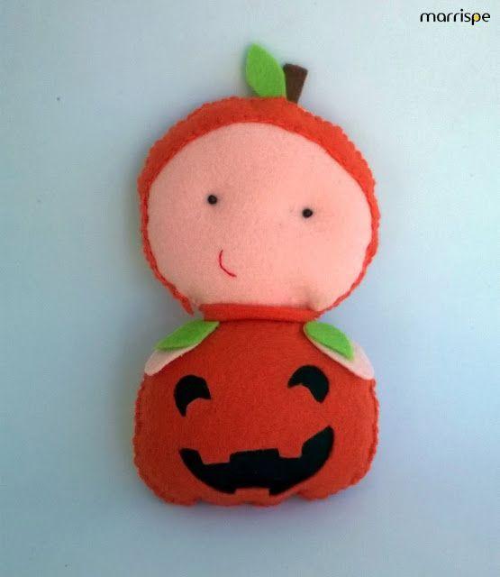 Baby abóbora em feltro #artesanato #feltro #costura #abobora #monstro #halloween #festa #infantil #diy #handmade #craft #molde #marrispe
