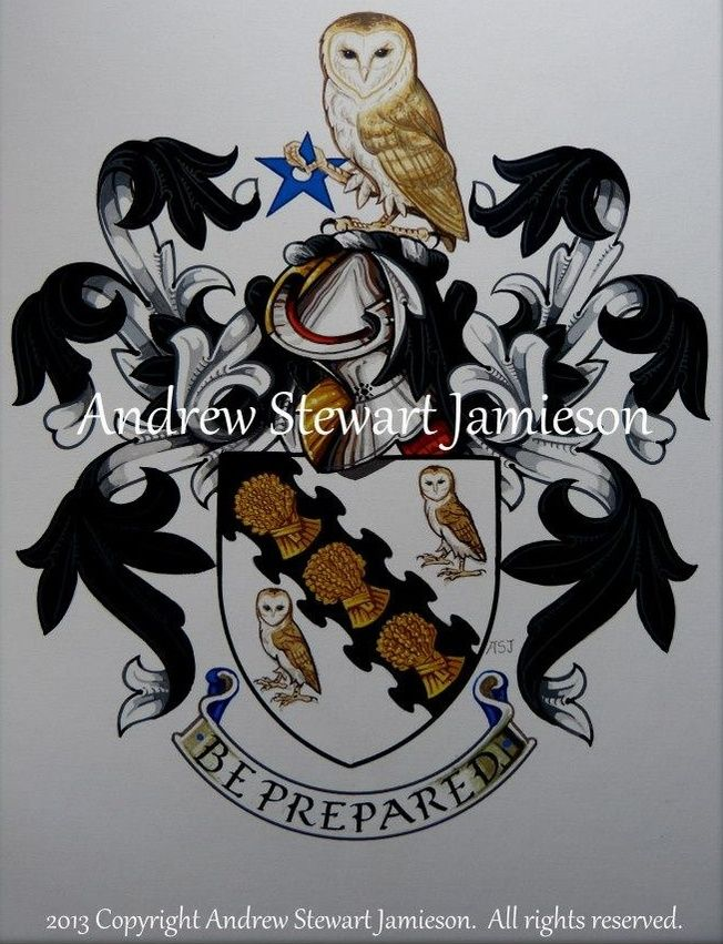 The Armorial Bearings of Wade MacTaggart this is original hand drawn and painted artwork created by British Artist and Designer Andrew Stewart Jamieson and is fully copyrighted.  No portion of this can be used to create another piece of artwork.  Do not copy, trace or digitally manipulate.  (heraldry, heraldic art, heraldic artists, coats of arms, fine art, The Jamieson Family)