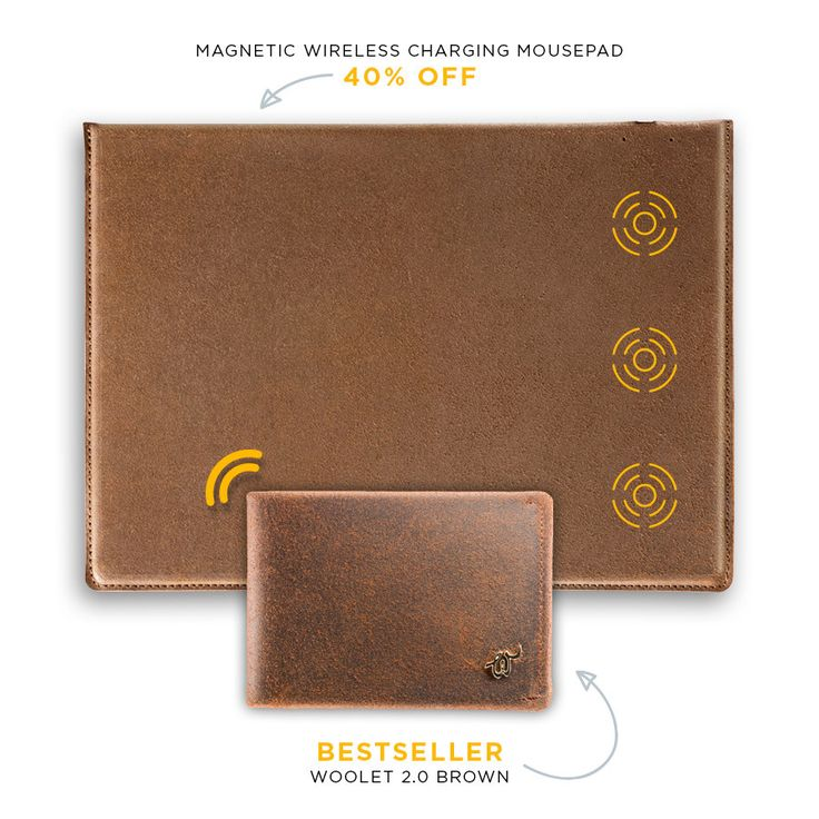 Woolet 2.0 Brown + Magnetic Wireless Charging Mousepad 40% off!