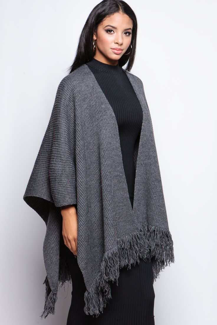 Gabrielle Grey Tassel Cape at misspap.co.uk