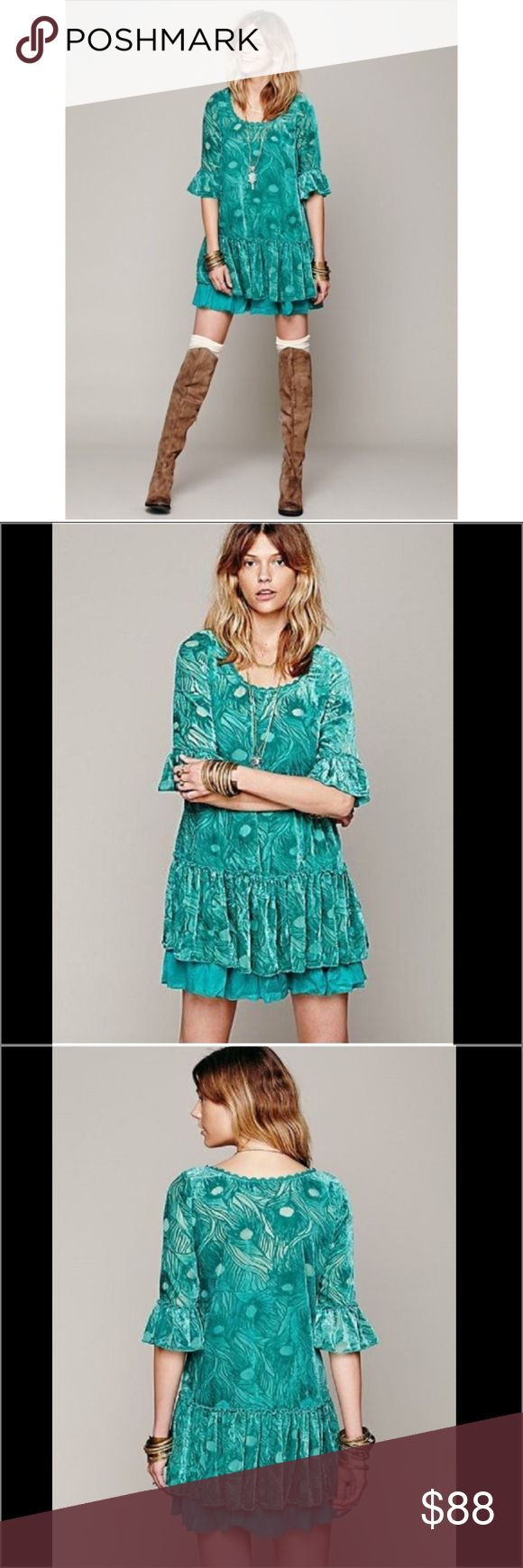 Free People Boho Festival Dress Free People Boho Festival Dress.  Gorgeous dress and in this green blue color!!  Match it with the adorable Kate Spade Crossbody  in my closet.   Fashionable dress with bell sleeves.  Textured velvet shift dress.  Scalloped Lace trim.  60% rayon, 40% nylon.  Missing slip. Free People Dresses Mini