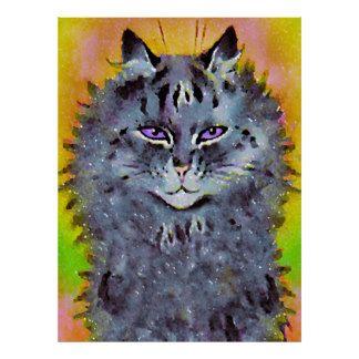 Affiche hippie cosmique vintage d'art de chat de L