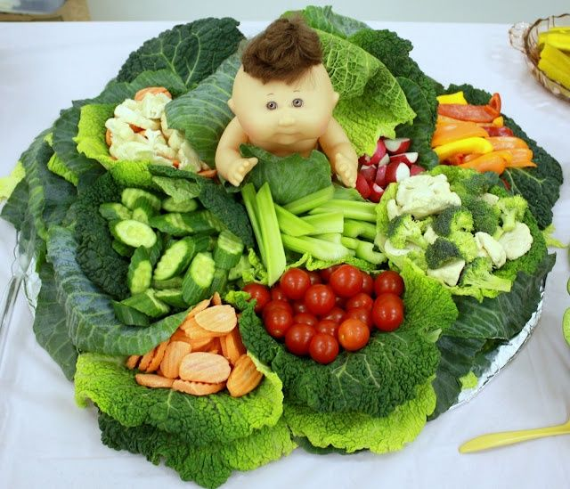 Veggie Display Ideas | Baby shower cabbage veggie display. What a cute ... | Baby Shower Ide ...