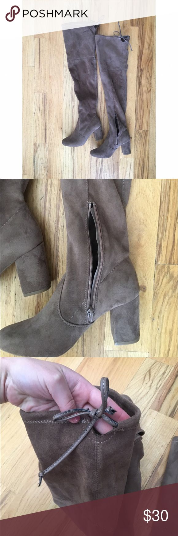 """Charlotte Russe Tie-back over-the-knee boots Taupe over-the-knee boots that have never been worn. There is an tie on the back so you can adjust it. Heels are 3"""". Charlotte Russe Shoes Over the Knee Boots"""