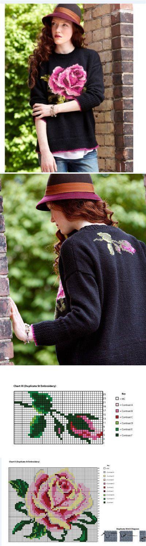 Джемпер с жаккардовой розой. Очень красиво! | вязание(жаккард,вышивка) | Постила