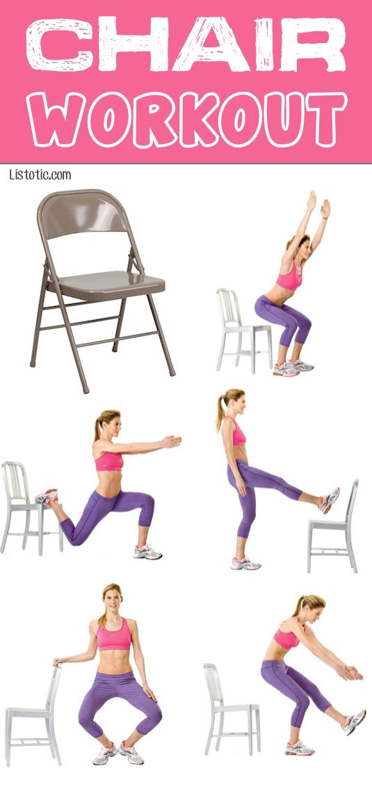 #6. Full Body Chair Workout -- Amazing what you can do with just a chair. No gym required! Includes a link to GIFs (short video clips) that make these a no-brainer.