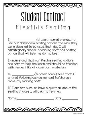 64 best alternative seating in the classroom images on for Student teacher contract template