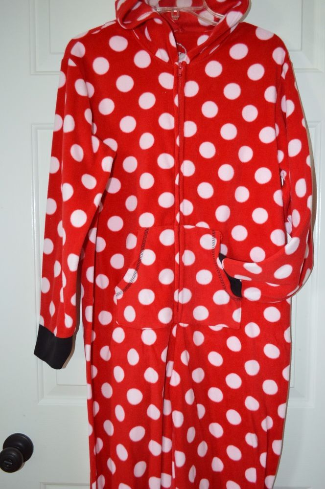 Womens Sz M Disney Minnie Mouse Red Polka Dot One Piece Hooded Foot Pajamas #Disney #FootedPajamas #Everyday