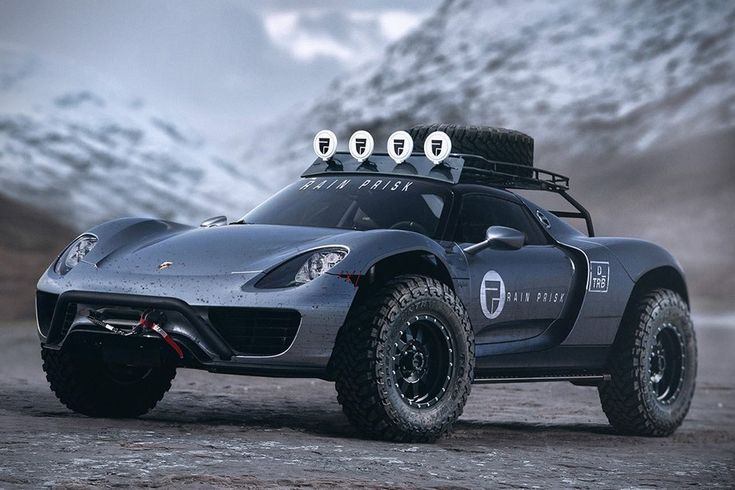 This off-road Porsche 918 Spyder comes with rally car fixings including reinforced tires, a roof rack, extra lighting, and brush guards. Check it out here.
