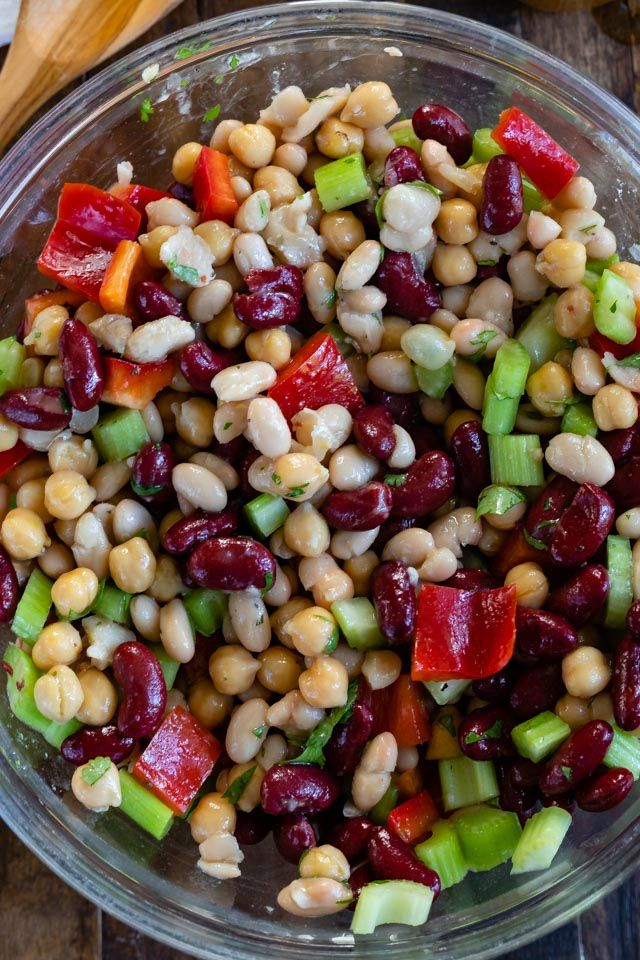 Easy Bean Salad Crazy For Crust Recipe In 2020 Bean Salad Recipes Bean Salad Diabetic Side Dishes