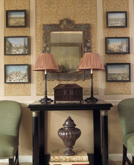 Antique Mirror Console And Dioramas From Charlotte Moss Interior Design Side Chairs Williams Sonoma Home