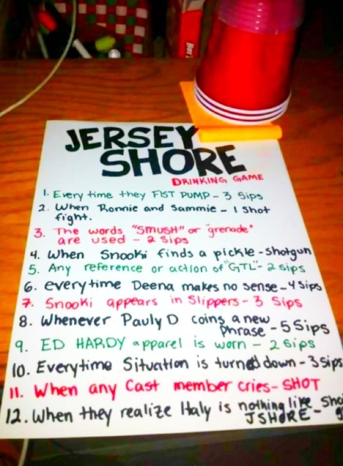 Jersey Shore drinking game. Party Ideas Pinterest