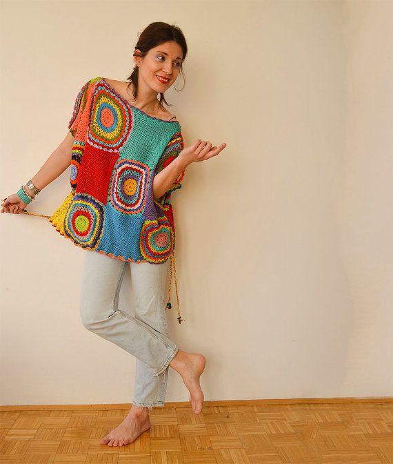 Women's Sweater Vest Crochet Light Silky Yarn by subrosa123