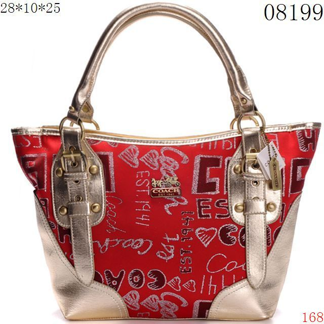 authentic coach outlet store online 7hy4  Coach Shoulder Bags Red / Golden Bottom and Strips [CO29859]