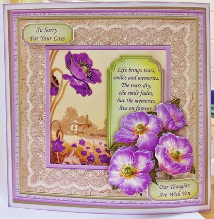 Sympathy Poppies in Purple 8x8 Mini Kit   Decoupage on Craftsuprint created by Helen Fearn - I printed all the pages out onto glossy card. Then cut all the elements out.Next i shaped the flowers before layering them up with foam pads , i chose two sentiments to finish the card off