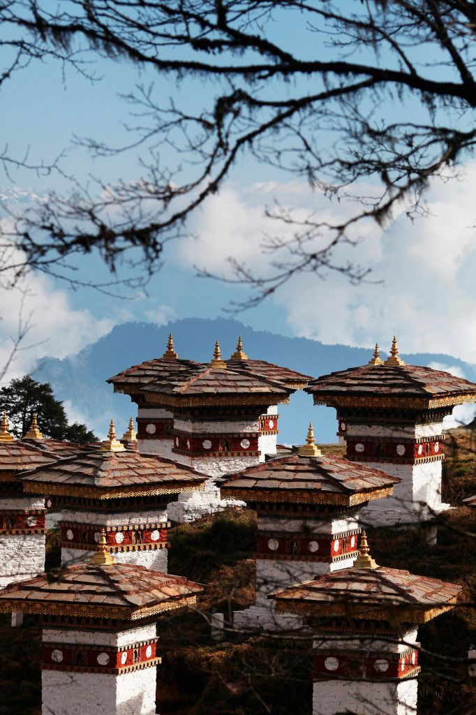 """108 Stupas, Dochula Pass, Bhutan"" (contemporary photography, bhutan landscape) 