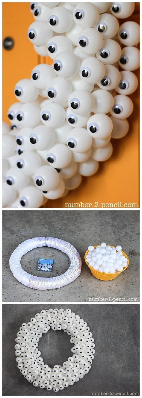 DIY Googly Eyes PIng Pong Ball Halloween Wreath Tutorial | No. 2 Pencil - Spooktacular Halloween DIYs, Crafts and Projects - The BEST Do it Yourself Halloween Decorations