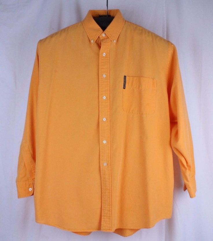Abercrombie & Fitch The Big Shirt Orange Large LS Dress Shirt Country Clothes  #AbercrombieFitch