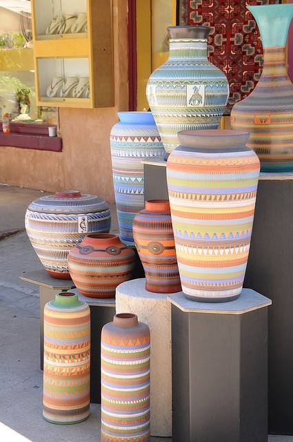 Santa Fe - Navajo Pottery Display - A shop near Loretto Chapel had these lovely pots on display. The colors and patterns were so fetching - they were begging to be photographed! (psuhockeychick photostream on Flickr)