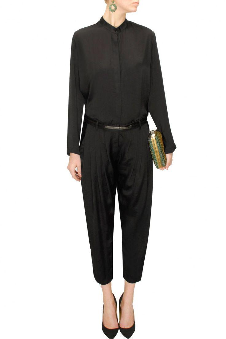 Black shirt style jumpsuit  by Bungalow 8. Shop at: www.perniaspopupshop.com. #jumpsuit #bungalow8 #chic #shopnow #perniaspopupshop #happyshopping
