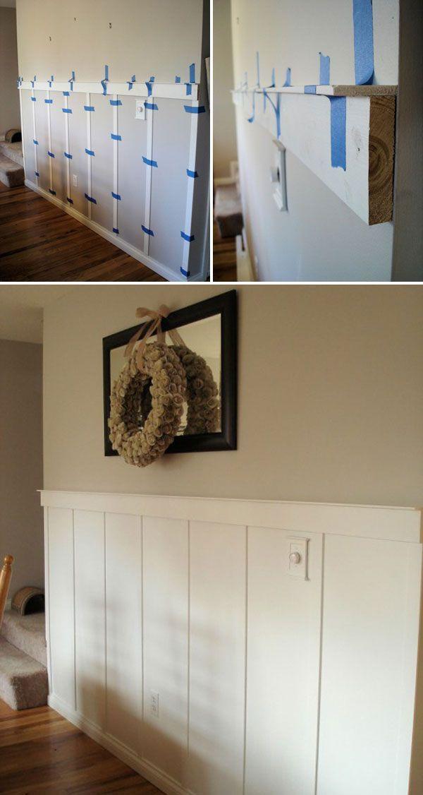 Eine Wunderbare Moglichkeit Jeder Wand Einen Charakter Zu Verleihen Ist Das Verkleiden Von Wanden Da Diy Molding Home Remodeling Diy Moldings And Trim