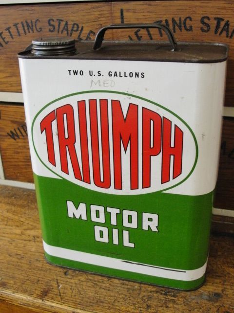 Vintage Triumph Motor Oil 2 Gallon Can found at www.rubylane.com