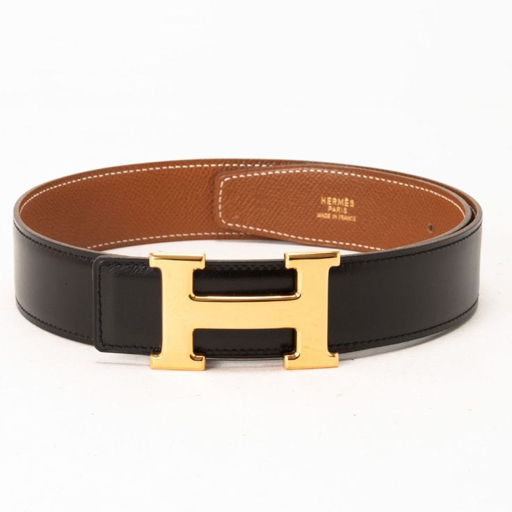 Black/Gold Hermes Belt