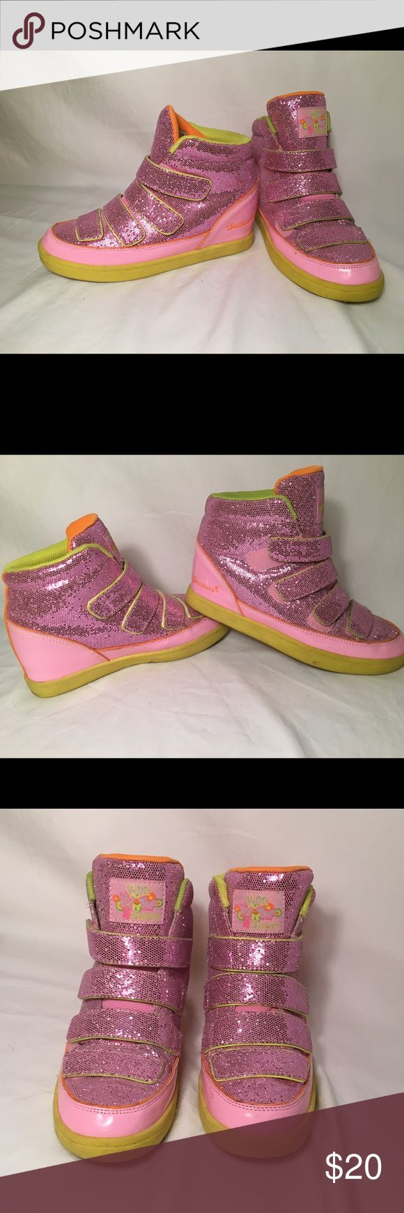 Sketcher Wedged Sneakers Used but in good shape! Adorable pink glitter wedges for the ultimate fashionista! Skechers Shoes Sneakers