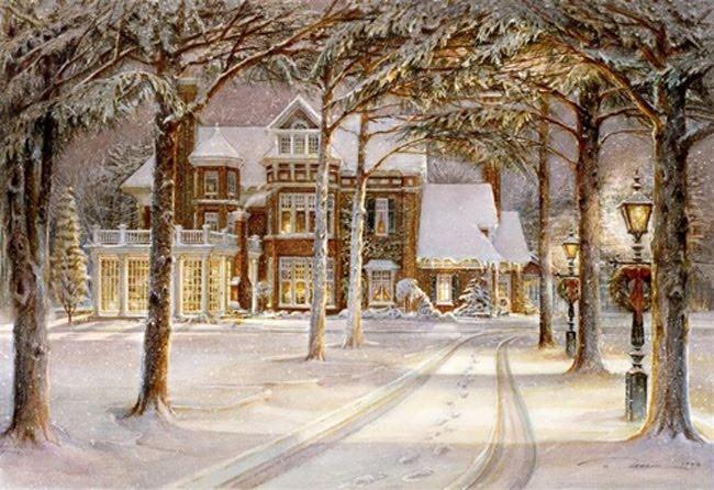 .Christmas Cards, Christmas Time, Vintage Christmas, Silent Night, Old Fashion Christmas, Christmas House, Winter Wonderland, Christmas Scene, Trisha Romances