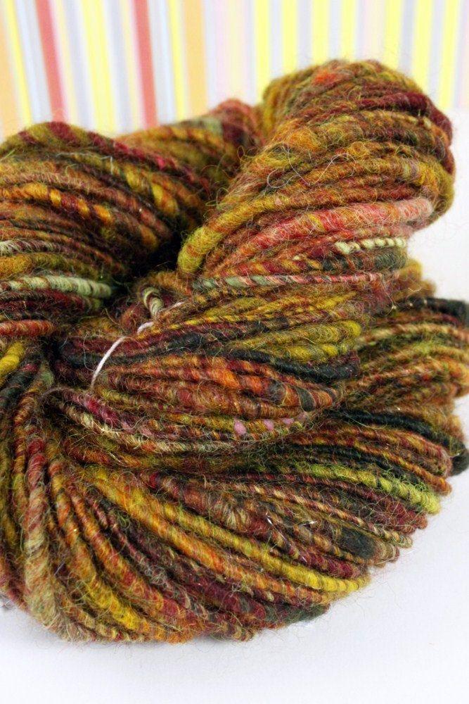 Knitting Handspun Wool : Autumn memories handspun corespun art yarn textiles