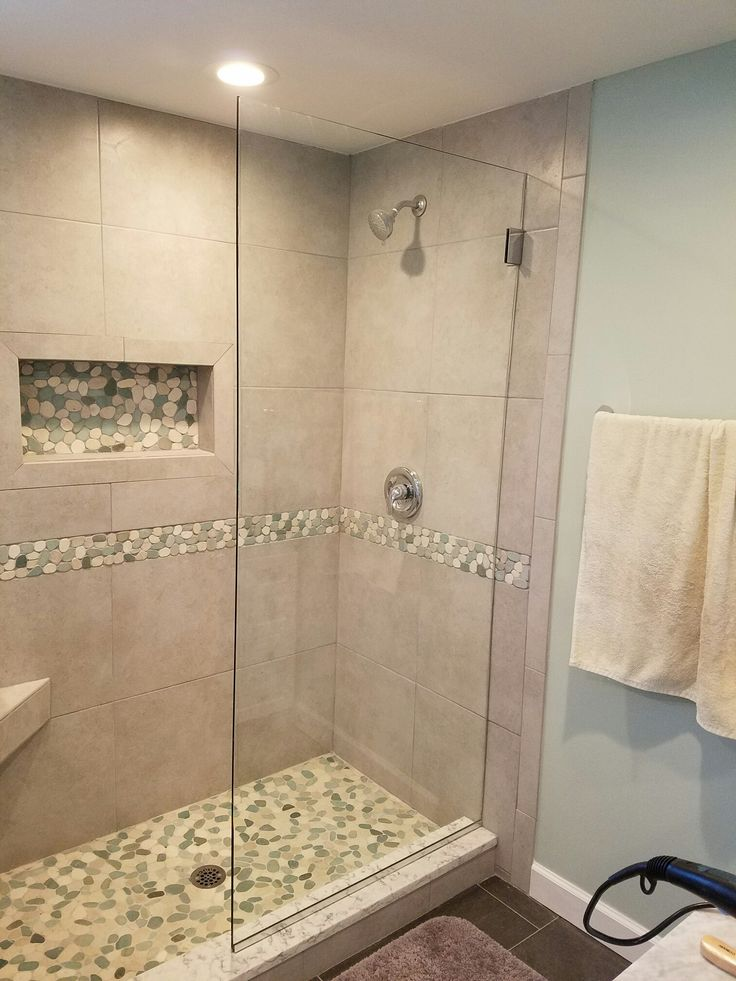 Beautiful Shower Remodel Using Sliced Sea Green And White Pebble Tile Niche  And Flooring And Sliced