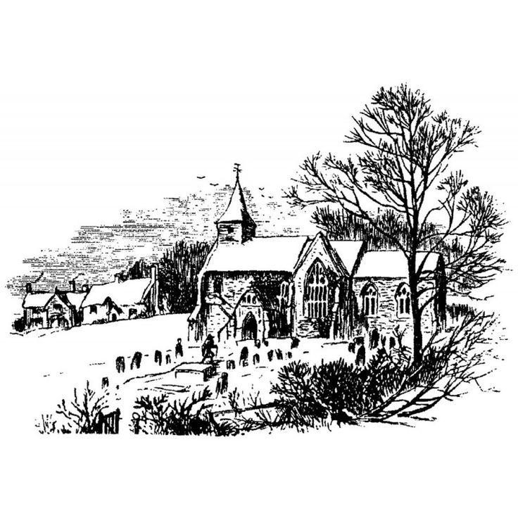 Winter Church Scene Rubber Stamp
