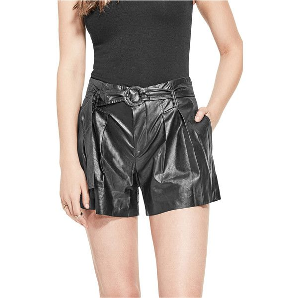 GUESS Hex Faux-Leather Shorts ($69) ❤ liked on Polyvore featuring shorts, faux-leather shorts, guess shorts, zipper shorts, vegan leather shorts and leather look shorts