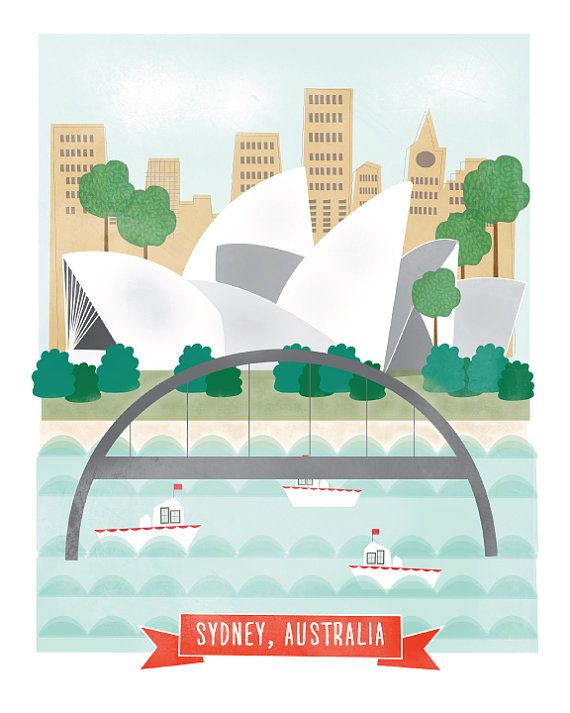 Sydney Australia art print illustration - 11x14 - city art poster Australia
