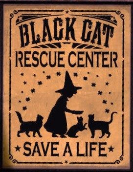 Black Cats rescue center sign Halloween witch decorations Humane Society Cat art Primitive Witches Sign Country Folk Art Painting Plaques  by SleepyHollowPrims, $27.00 USD