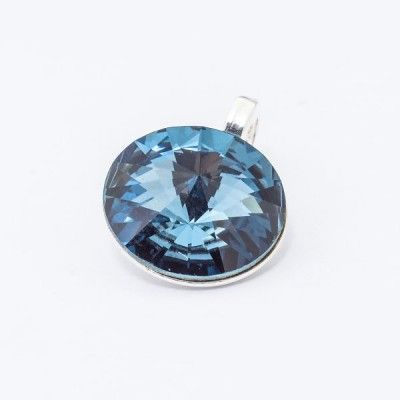 Swarovski Rivoli Pendant 12mm Denim Blue  Dimensions: length: 1,7cm stone size: 12mm Weight ~ 1,40g ( 1 piece ) Metal : sterling silver ( AG-925) Stones: Swarovski Elements 1122 12mm Colour: Denim Blue 1 package = 1 piece Price 12.90 PLN