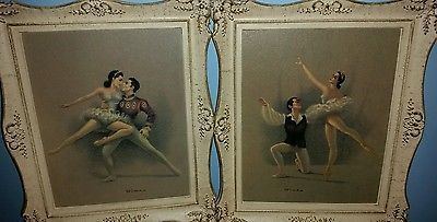 "Vintage 2 pc set Russian Ballerina Artwork in antique frames 17"" x 14.5"""
