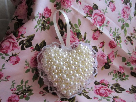 Beautiful cream beaded calico and lace heart  All by Cherrypoppets, £9.99