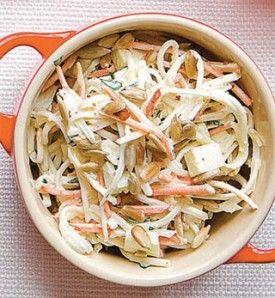 Remoulade van knolselder en wortel met zonnebloempitten - Recepten - Culinair - KnackWeekend.be - met Granny Smith OER-fruit