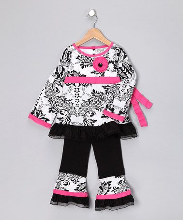 Take a look at this Pink Damask Paula Tunic & Ruffle Pants - Infant, Toddler & Girls by AnnLoren on #zulily today!