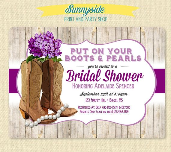 Boots & Pearls Invite  Country Girl Bridal by sunnysideprintparty
