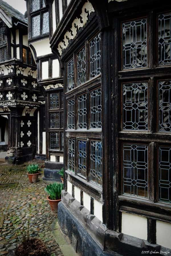 Tudor era window at Little Moreton Hall, UK. Little