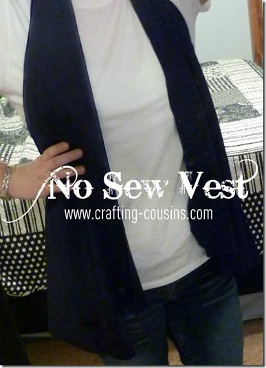 Tutorial for a no sew knit vest.  There's also an option for very little sewing.