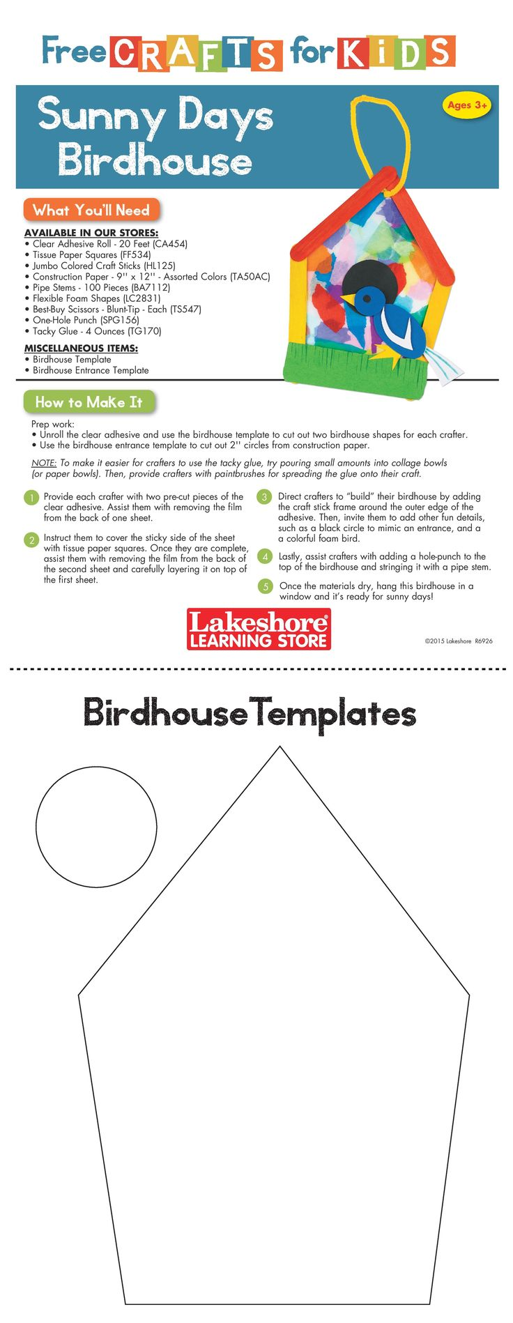 Instruction Sheet from Lakeshore's Free Crafts for Kids event featuring the Sunny Days Birdhouse craft.