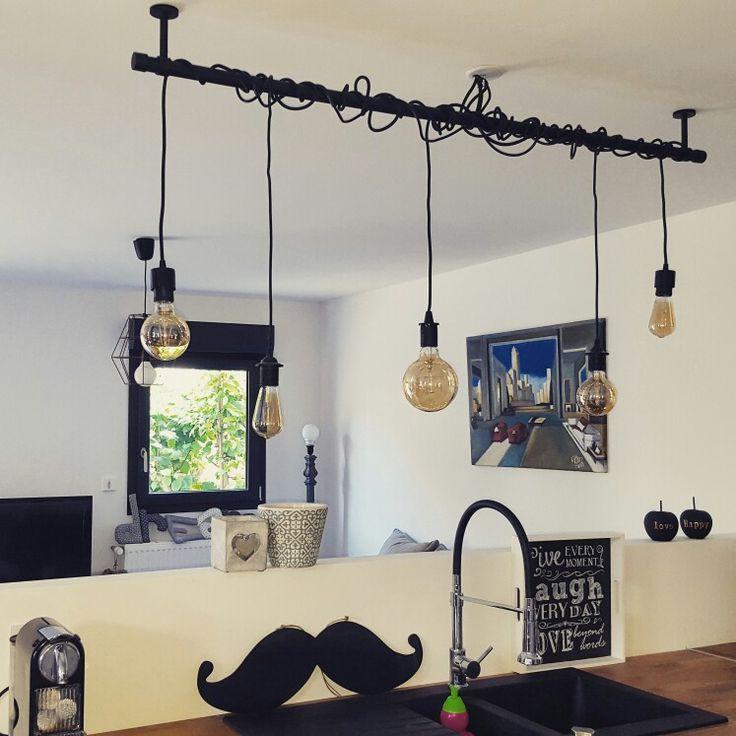 cuisine salon deco luminaire tendance noir et blanc pomme moustache bois chene en. Black Bedroom Furniture Sets. Home Design Ideas