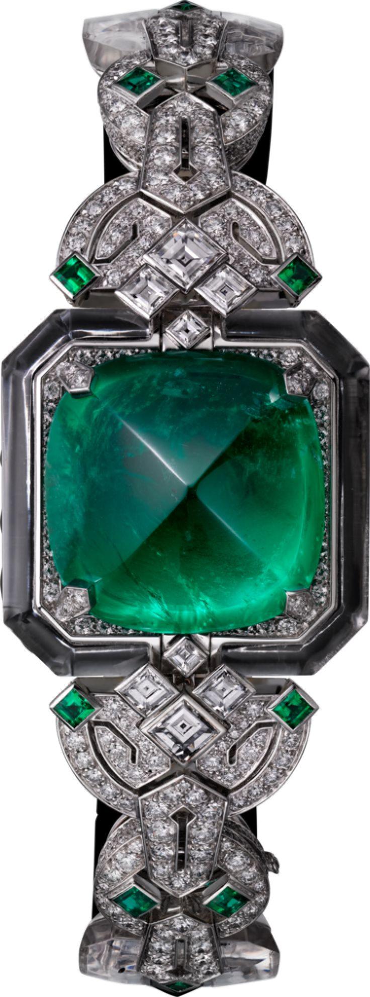 RELOJ HORA SECRETA DE ALTA JOYERÍA  Movimiento de cuarzo, oro blanco de 18 quilates, esmeralda, diamantes, ónix, cristal de roca