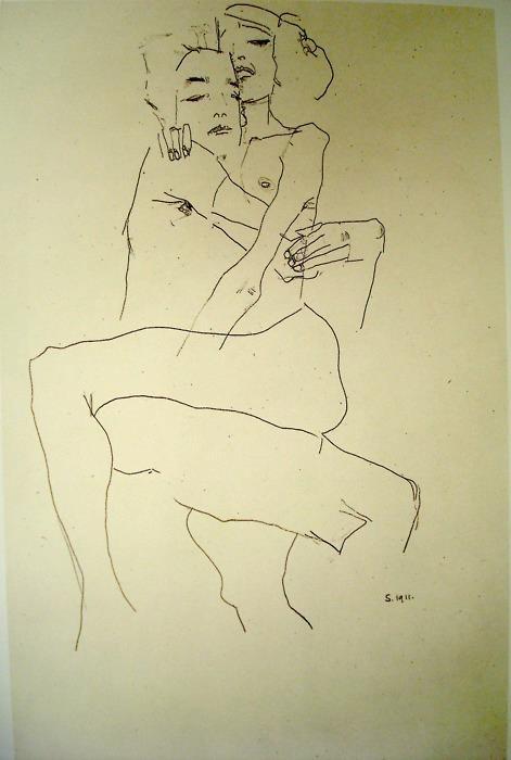Egon Schiele - Embracing Couple - 1911