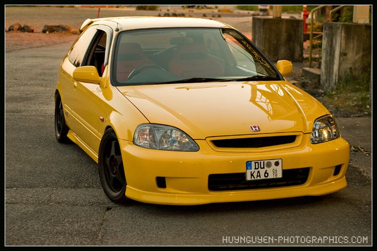 The car that I want to have someday.. A 96 Honda Civic EK9 on Spoon Yellow, Spoon Rims, Type R Chin and red Recaro seats...